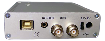 Back panel of the APT-06AD with antenna diversity showing the USB, audio and power plugs as well as two antenna sockets