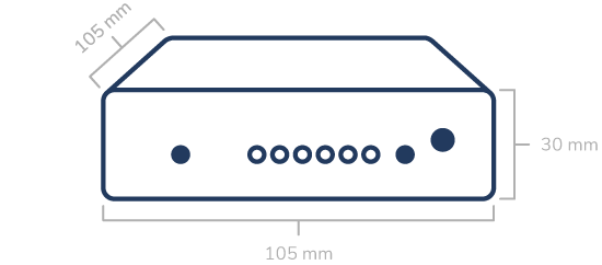 Outline-sketch of the APT-06 showing its dimensions. Height: 30 mm. Length: 105 mm. Depth: 105 mm.