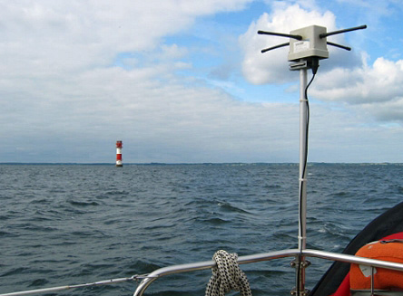 Example of an MX-137 antenna mounted onboard a ship on the open sea