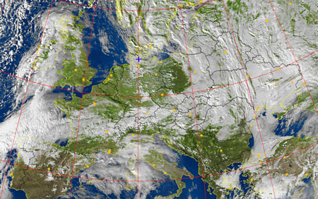 A weather satellite image received with the APT-06 receiver and the KX-137 antenna.